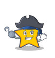 pirate star character cartoon style vector image vector image