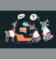 polar reindeers and sleight funny christmas vector image
