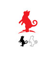 red cat logo line and silhouette vector image vector image