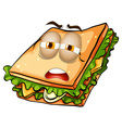 Sandwich with lazy face vector image vector image