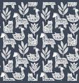 scandi animals pattern vector image vector image