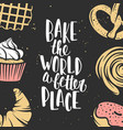 set bakery elements and handwritten lettering vector image vector image