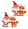 set of funny smiling gnome and animated fox vector image