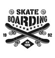 skateboarding emblem with two skate decks vector image vector image