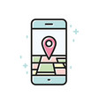 smartphone gps linear icon line vector image vector image