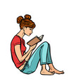 teen girl reading a book vector image vector image