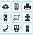 telecommunication icons set with printer laptop vector image