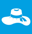 woman hat icon white vector image vector image