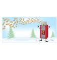 wood pellett stove cartoon on christmas banner vector image vector image