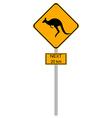 Yellow kangaroos roadsign vector image vector image