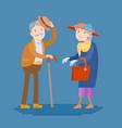 meeting of two elderly people vector image