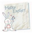 Easter cartoon bunny on a notebook scrap paper vector image