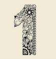 Number 1 floral decorative ornament vector image