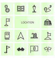 14 location icons vector image vector image
