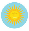 a bright warm shining sun smiling color drawing or vector image
