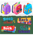 back to school satchels students and banners