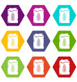 bag wheat icons set 9 vector image vector image