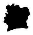 black silhouette country borders map of ivory vector image