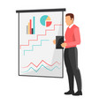 businessman by whiteboard vector image