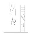 cartoon man or businessman climbing up the vector image vector image