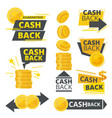 cash back ads promotional badges stickers special vector image