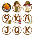 Characters and numbers on round badges vector image vector image