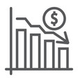 chart line icon finance and banking decrease vector image vector image
