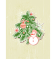Christmas background with green paper fir vector image vector image