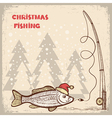 Christmas fishing card with fish in red Santa hat