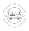 circular contour of silhouette with mini bus vector image vector image
