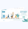 city people life time management web banner vector image vector image