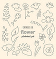 continuous line flower drawing set vector image