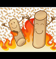 couple cheerful pellets on flame background vector image vector image