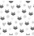 cute cartoon pattern with raccoons and hearts vector image
