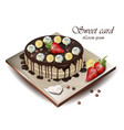 delicious cake with fruits realistic vector image vector image