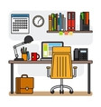 Designer office workspace with computer vector image