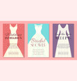 different styles wedding dresses set banners vector image