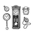 different types vintage clocks vector image vector image