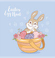 Easter bunny with eggs and flowers greeting card