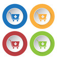 four round color icons shopping cart add vector image