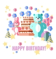 Happy Birthday card with sweets gifts and balloons vector image vector image