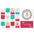 happy new year 2018 cute xmas calendar template vector image vector image
