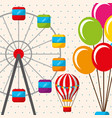 hot air balloon ferris wheel carnival fun fair vector image vector image