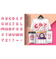inflatable alphabet poster and merchandising vector image vector image