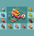 isometric design of different food trucks vector image