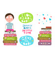 kid boy sitting on pile of books reading vector image vector image
