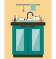 Kitchen sink with kitchenware vector image vector image