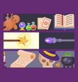 magic tools magician banner fantasy carnival vector image
