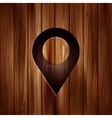 map pointer icon location symbol wooden texture vector image
