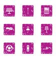 nighttime icons set grunge style vector image vector image